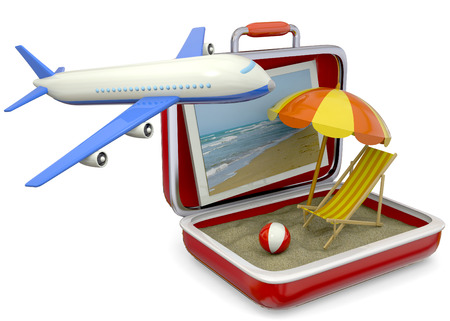 Beach chair, umbrella, life buoy, suitcase, airplane and sand