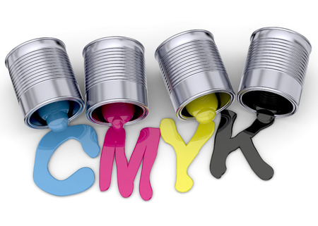 Cans and cmyk colors on white background
