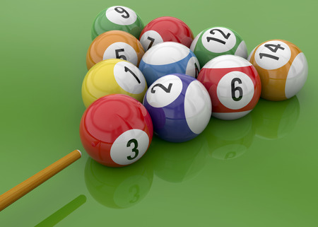 Ball of Billiards on green Table Imagens