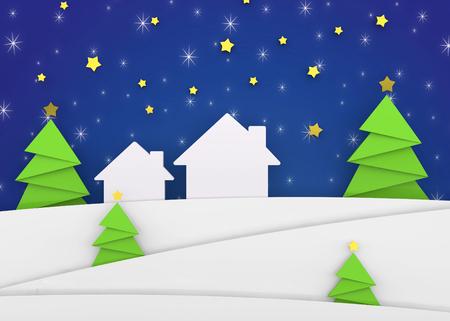 Paesaggio di Natale - 3D Archivio Fotografico - 93473257