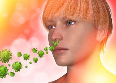 Breathing the virus 3d