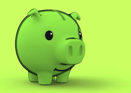 Green coin bank 3d