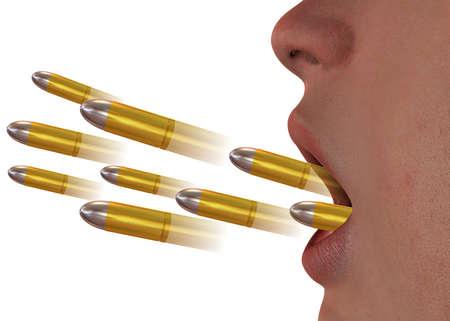 Words hurt like bullets - 3d