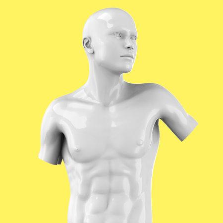 Modern statue on pop art background - 3D