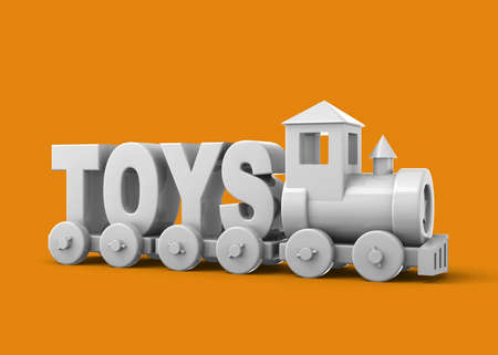 Toys Train on colorful background - 3D