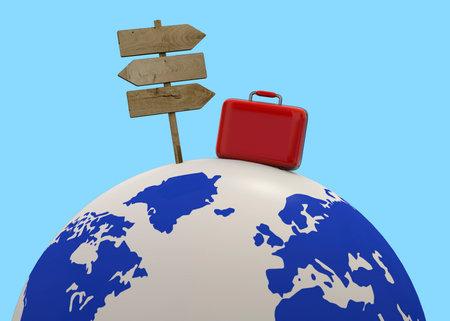 Travel around the world concept - 3D