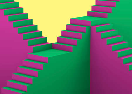 Colorful Pop art Stairs - 3D concept