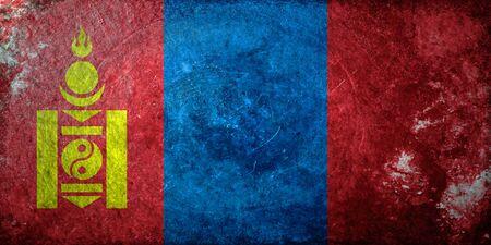 mongolia: grungy flag of Mongolia