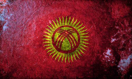 kyrgyzstan: Una bandera del grunge de Kirguistán