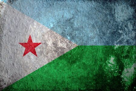 djibouti: A dirty, grunge design of the flag of Djibouti
