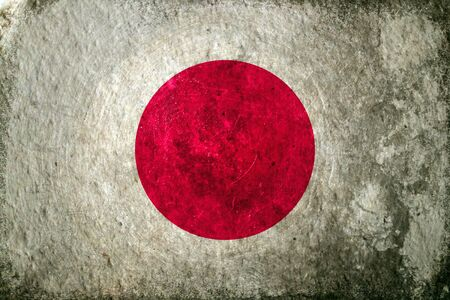 dirty: A dirty, grunge design flag of Japan