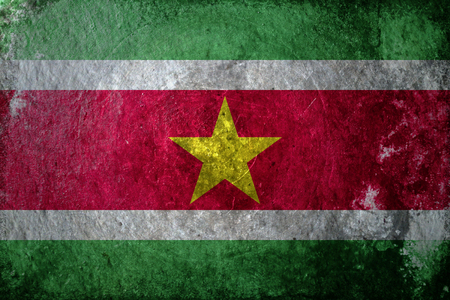 suriname: A dirty, grunge design of the flag of Suriname