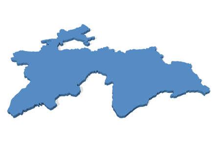 tajikistan: 3D map of Tajikistan