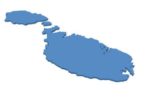 malta map: 3D map of Malta