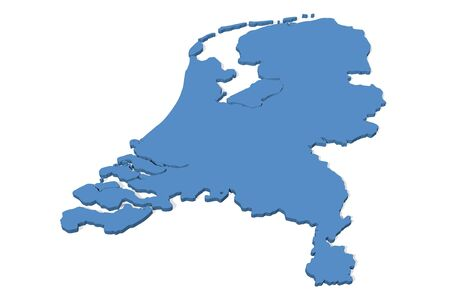 netherlands: 3D map of the Netherlands Stock Photo