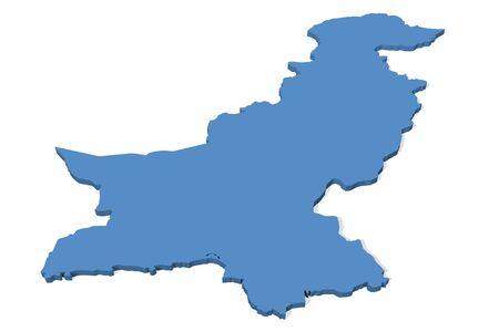 Pakistan: 3D map of Pakistan Stock Photo