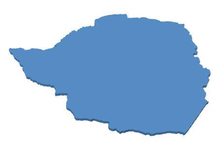 zimbabwe: 3D map of Zimbabwe