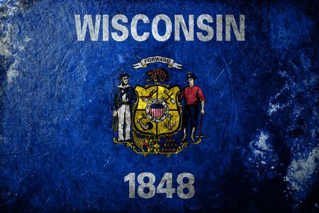 wisconsin flag: A dirty, grunge design of the state flag of  Wisconsin