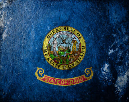 A dirty, grunge design of the state flag of Idaho