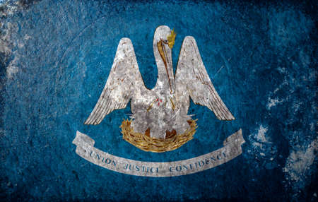 louisiana flag: A dirty, grunge design of the state flag of Louisiana Stock Photo