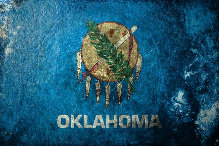 oklahoma: A dirty, grunge design of the state flag of Oklahoma