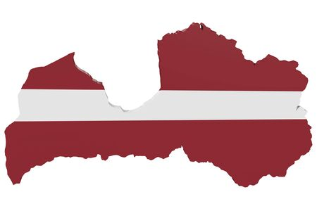 cantons: Map of Latvia in the colors of the national flag Stock Photo