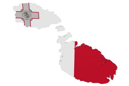 cantons: Map of Malta in the colors of the national flag Stock Photo