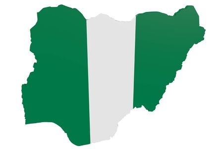 cantons: Map of Nigeria in the colors of the national flag Stock Photo
