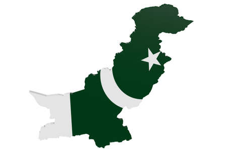 cantons: Map of Pakistan in the colors of the national flag