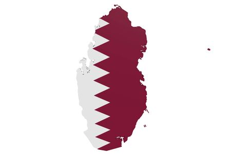 Map of Qatar in the colors of the national flag