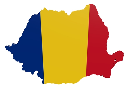 Map of Romania in the colors of the national flag Standard-Bild
