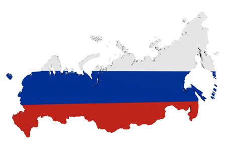 Map of Russia in the colors of the national flag