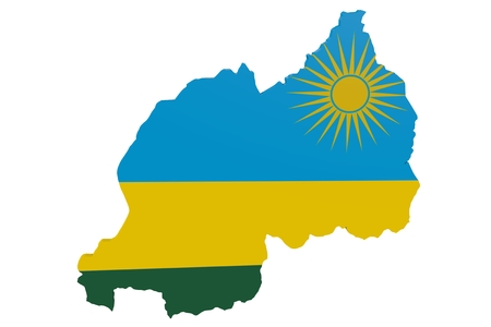 Map of Rwanda in the colors of the national flag Standard-Bild