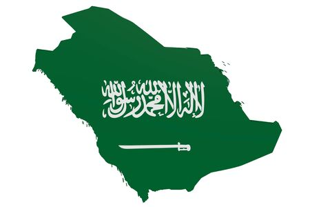 Map of Saudi Arabia in the colors of the national flag