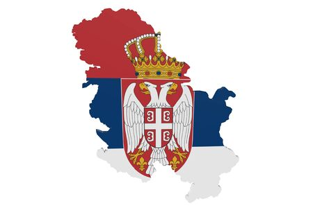 Map of Serbia in the colors of the national flag Standard-Bild