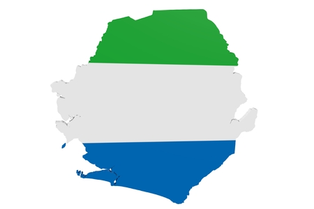 Map of Sierra Leone in the colors of the national flag