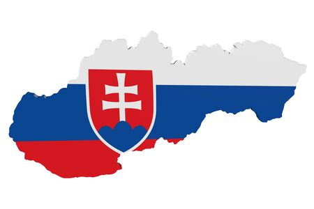 Map of Slovakia in the colors of the national flag