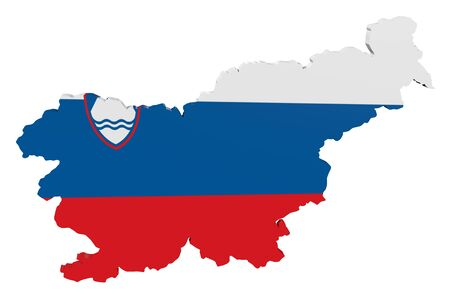 Map of Slovenia in the colors of the national flag