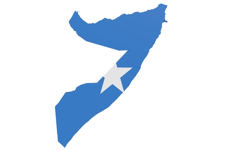 Map of Somalia in the colors of the national flag