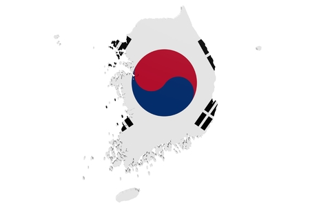 Map of South Korea in the colors of the national flag