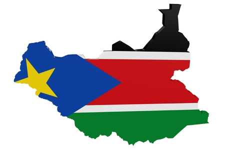 Map of South Sudan in the colors of the national flag