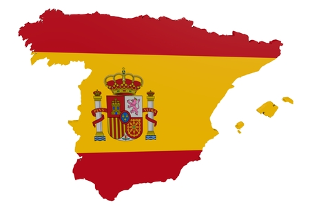 Map of Spain in the colors of the national flag Standard-Bild
