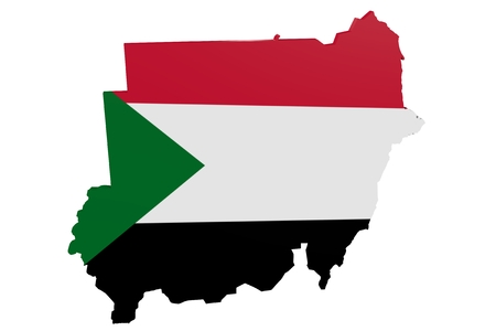 Map of the Sudan in the colors of the national flag