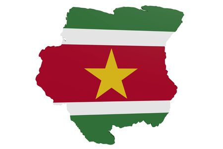 Map of Suriname in the colors of the national flag