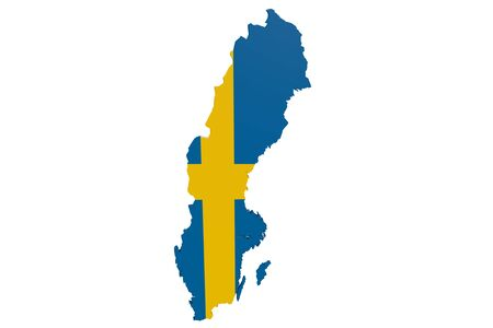 Map of Sweden in the colors of the national flag