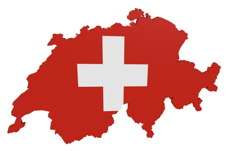 Map of Switzerland in the colors of the national flag Standard-Bild