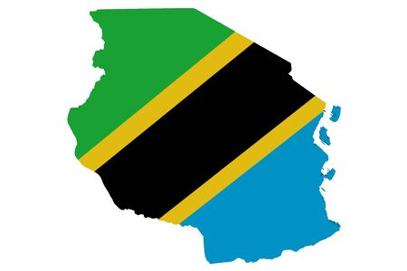 Map of Tanzania in the colors of the national flag