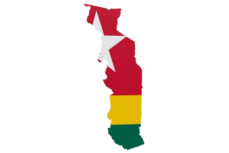 Map of Togo in the colors of the national flag