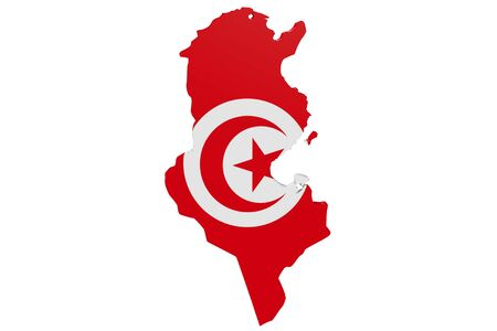 Map of Tunisia in the colors of the national flag