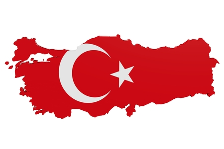 Map of Turkey in the colors of the national flag Standard-Bild